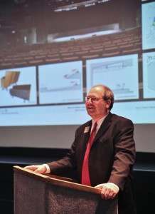 """Executive Director Rick Nowlin shares details of the """"Bridge to the Future"""" project with Center supports during a celebration to launch the project on March 27th."""